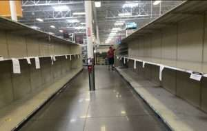 Empty grocery store shelves at my local grocery store