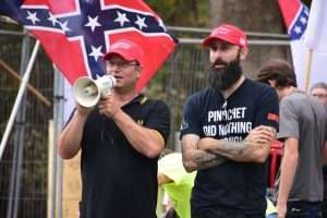 Proud Boys at a pro-Confederate protest in 2019
